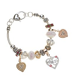 L&J Accessories Pink Glass Mom Hearts Bracelet