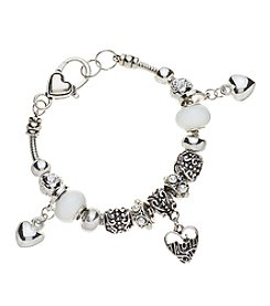 L&J Accessories White Glass Mom Hearts Bracelet