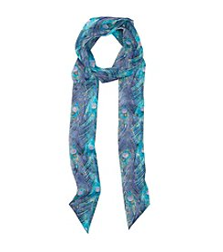 Collection 18 Peacock Feather Skinny Scarf