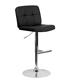 Flash Furniture Contemporary Tufted Vinyl Adjustable Height Barstool with Chrome Base