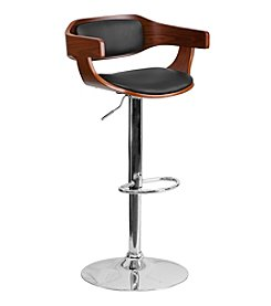 Flash Furniture Bentwood Adjustable Height Barstool with Black Vinyl Seat