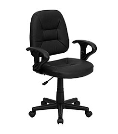 Flash Furniture Mid Back Leather Ergonomic Swivel Task Chair with Adjustable Arms