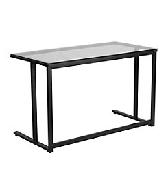 Flash Furniture Glass Desk with Pedestal Frame