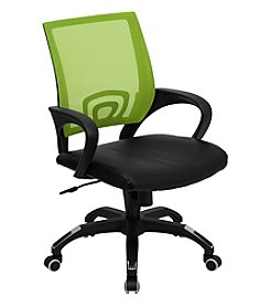 Flash Furniture Mid Back Mesh Swivel Task Chair with Leather Seat and Arms