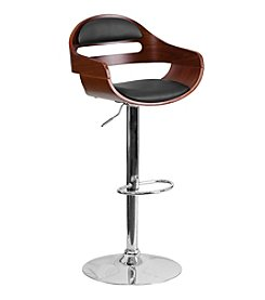 Flash Furniture Bentwood Adjustable Height Barstool with Cutout Back and Vinyl Seat