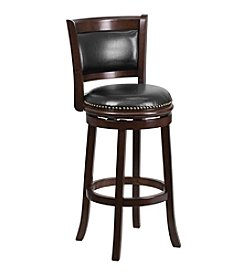 Flash Furniture Wood Counter Height Stool with Leather Swivel Seat