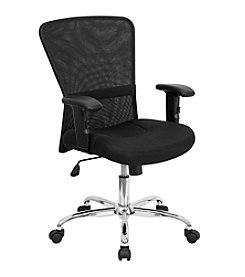 Flash Furniture Mid Back Mesh Contemporary Swivel Task Chair with Chrome Base and Adjustable Arms