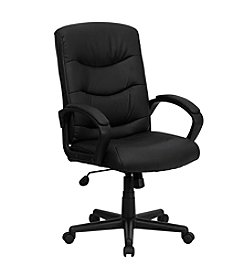 Flash Furniture Mid Back Leather Swivel Task Chair with Arms
