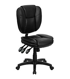 Flash Furniture Mid Back Leather Multifunction Ergonomic Swivel Task Chair