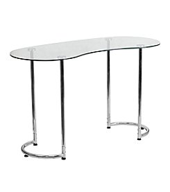 Flash Furniture Contemporary Desk with Tempered Glass