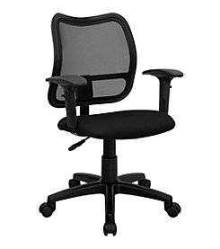Flash Furniture Mid Back Gray Mesh Swivel Task Chair with Adjustable Arms