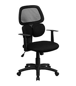 Flash Furniture Mid Back Mesh Swivel Task Chair with Flexible Dual Lumbar Support and Arms