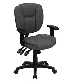 Flash Furniture Mid Back Gray Fabric Multifunction Ergonomic Swivel Task Chair with Adjustable Arms