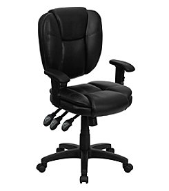 Flash Furniture Mid Back Leather Multifunction Ergonomic Swivel Task Chair with Adjustable Arms