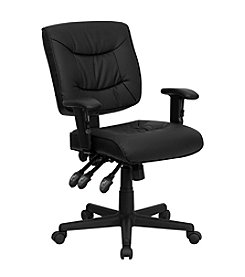 Flash Furniture Mid Back Leather Multifunction Swivel Task Chair with Adjustable Arms