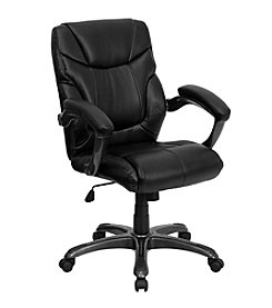 Flash Furniture Mid Back Leather Overstuffed Swivel Task Chair with Arms