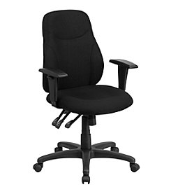 Flash Furniture Mid Back Fabric Multifunction Ergonomic Swivel Task Chair with Adjustable Arms