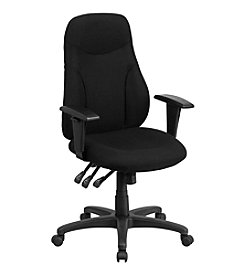 Flash Furniture High Back Fabric Multifunction Ergonomic Swivel Task Chair with Adjustable Arms