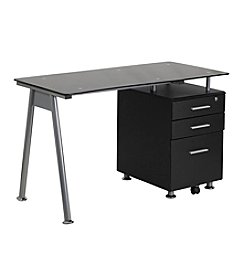 Flash Furniture Glass Computer Desk with Three Drawer Pedestal