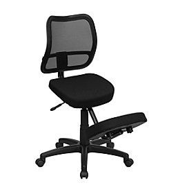 Flash Furniture Mobile Ergonomic Kneeling Swivel Task Chair with Back in Mesh and Fabric