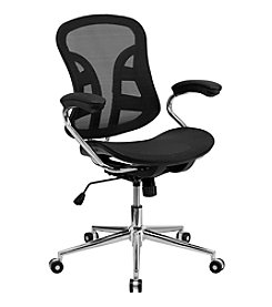 Flash Furniture Mid Back Transparent Mesh Swivel Task Chair with Chrome Base and Arms