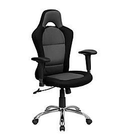 Flash Furniture Race Car Inspi Gray and Mesh Swivel Task Chair with Bucket Seat and Adjustable Arms
