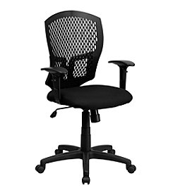 Flash Furniture Mid Back Designer Back Swivel Task Chair with Fabric Seat and Adjustable Arms