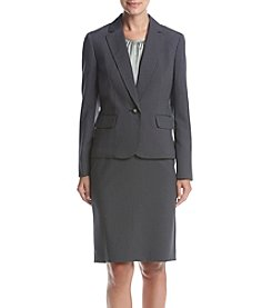 LeSuit® Single Button Striped Skirt Suit
