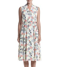 Anne Klein® Printed Drawstring Fit & Flare Dress