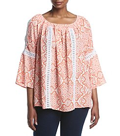 NY Collection Plus Size Cold Shoulder Crochet Top
