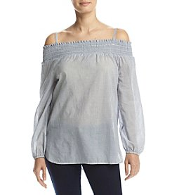 Calvin Klein Stripe Off Shoulder Blouse