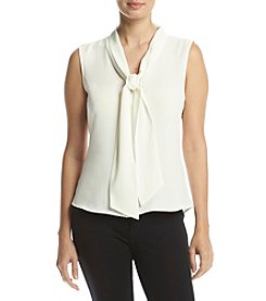 Calvin Klein Textured Tie Neck Blouse