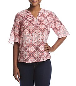NY Collection Petites' Printed Split Neck Top