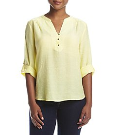 NY Collection Petites' Solid  Henley Top