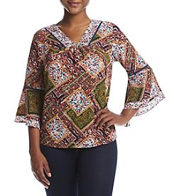 NY Collection Petites' Print V-Neck Top