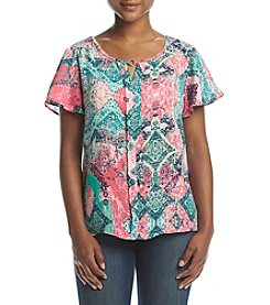 NY Collection Petites' Keyhole Front Trim Top