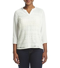 NY Collection Petites' Lace Front Henley Top