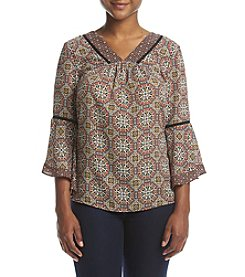 NY Collection Petites' Print Angled Sleeve Top