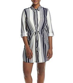 NY Collection Petites' Striped Point Collar Dress