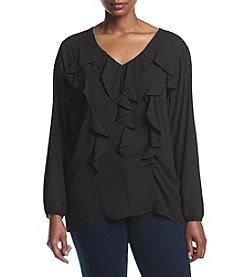 NY Collection Plus Size Long Sleeve V-Neck Top