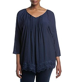 NY Collection Plus Size Lace Hem Pullover Top