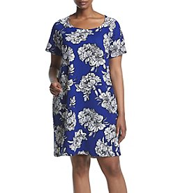 NY Collection Plus Size Print Raglan Sleeve Dress