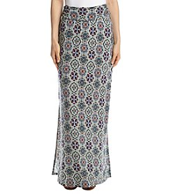 Sequin Hearts Medallion Print Maxi Skirt
