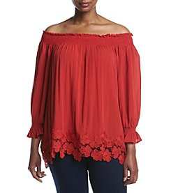 Skylar & Jade™ Plus Size Shoulder Smock Lace Hem Blouse