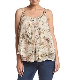 NY Collection Printed Ring Strap Top