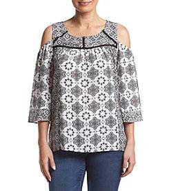 NY Collection Cold Shoulder Top