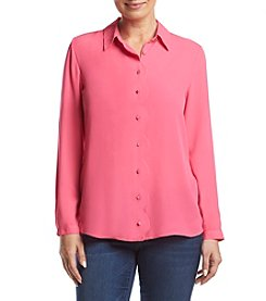 NY Collection Scalloped Placket Shirt