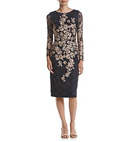 Xscape Embroidered Floral & Lace Sheath Dress