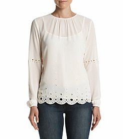 MICHAEL Michael Kors® Engineered Eyelet Scallop Blouse