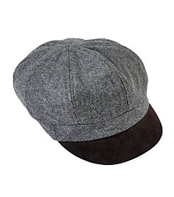 August Hats Faux Suede Brim Newsboy Hat